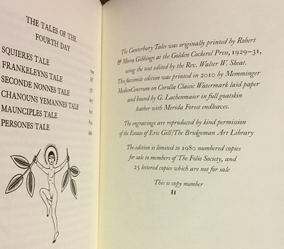 Folio Society The Canterbury Tales colophon