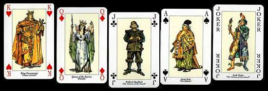 Gilbert and Sullivan playing cards faces