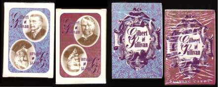 Gilbert and Sullivan playing cards, backs and boxes