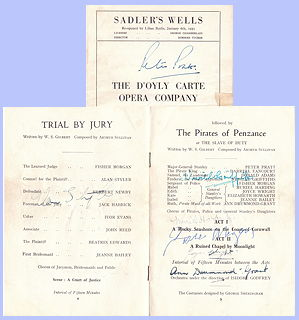 Trial by Jury and The Pirates of Penzance, signed by cast, 1953