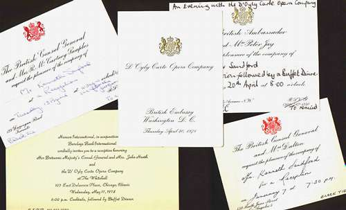 Invitations to British Consulate or Embassy functions
