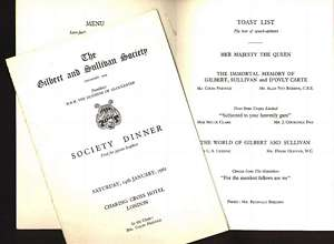 1961 Gilbert and Sullivan Society dinner menu