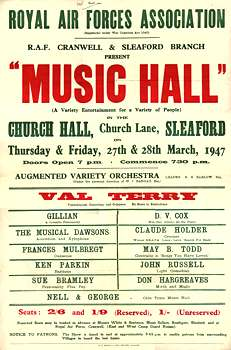 Poster for Music Hall RAF Cranwell