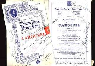 Early London cast Carousel programmes, signed