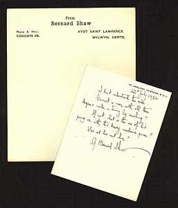 G.B. Shaw note and notepaper