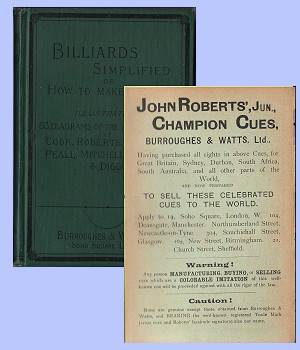 Billiards Simplifies, with Roberts' Champion cues ad